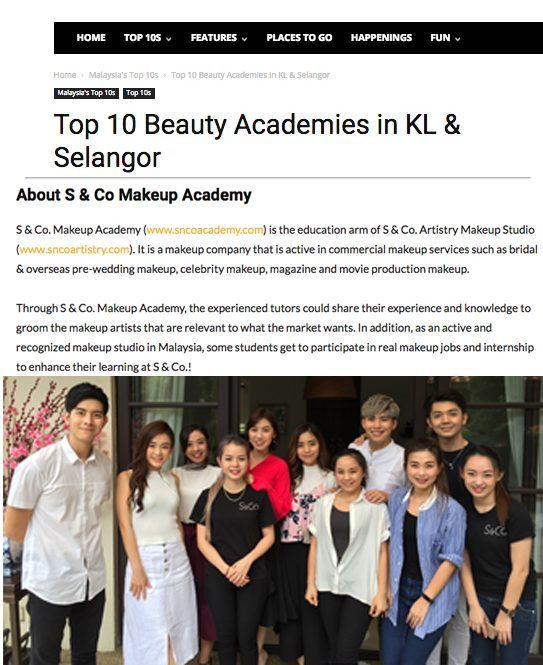 S & Co. Makeup Academy listed as Top 10 Beauty Academies in KL & Selangor!