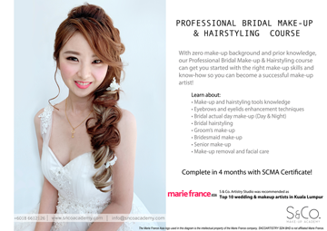 professional bridal make-up hairstyling course Malaysia