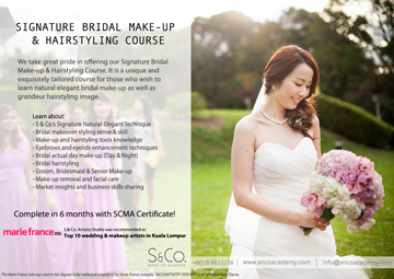 natural elegant bridal make-up hairstyling course Malaysia