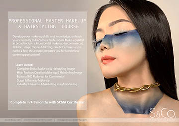 professional master make-up hairstyling course Malaysia